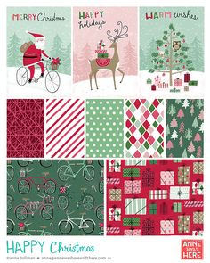 HappyChristmas_AnneWasHere - Anne Bollman - Christmas illustrations with a fun retro feel.