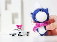 Cat with mouse  Friend of Teddy Bear  Artist OOAK by BearMyFriend