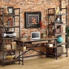 Jamestown Home Office by Riverside Furniture. Get your Jamestown Home Office at Plantation Furniture, Richmond TX furniture store. Rustic Industrial Decor, Industrial Living, Modern Industrial, Rustic Decor, Modern Rustic Office, Industrial Shelves, Pipe Shelves, Modern Desk, Industrial Office