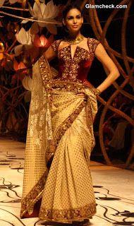Z Fashion Trend: DESIGNER GOLDEN MAROON SAREE BY ROHIT BAL