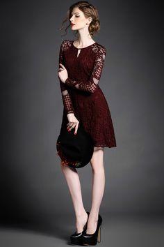 Gorgeous Women Lacey Long Sleeve Dress