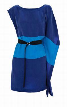 Karen Millen Dl254 Soft Colourblock Dress Blue Multi [KMM5664] - £57.60 :