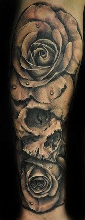 3 rose forearm tattoo | Skull And Rose Arm Tattoos Ocwoemlg