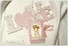 OOAK Magnolia Tilda tag and word Love