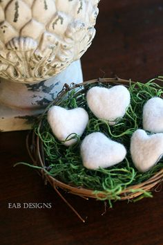 Felted Hearts Felted Wool Hearts Set of 5 with Nest by eabdesigns, $16.00 #feltedhearts #valentinesday #valentinesdaydecorations