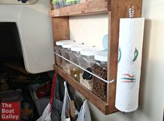 "The perfect paper towel holder for a boat, RV or anywhere a breeze can blow in through the window. Cheap, easy and solves paper towels ""blowing in the wind."""