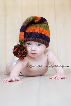 Stripey Stocking Cap Knitted Four sizes  Newborn to 3 mo, 3 mo to 6 mo,6 to 12 mo,12 mo to  24 months Adorable Photography Prop. $28.00, via Etsy.