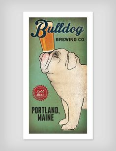 BULLDOG Custom Bulldog Brewing Company graphic art illustration GICLEE PRINT 8x16 inches Signed on Etsy, $39.00