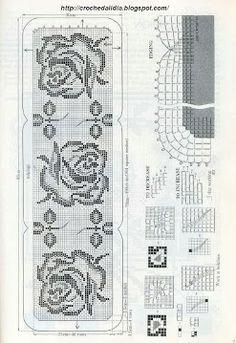 Free filet crochet table runner diagram, chart pattern plus many more patterns here. Filet Crochet, Crochet Diagram, Crochet Chart, Thread Crochet, Crochet Motif, Crochet Doilies, Crochet Stitches, Crochet Flower Patterns, Doily Patterns