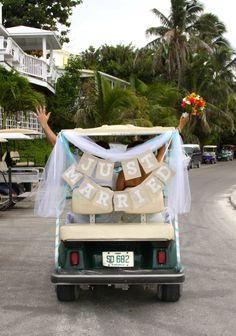 Our getaway ride! Golf cart wedding #bahamas #ElboyCay #DestinationWedding