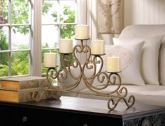 ANTIQUED CAST IRON CANDLEABRA WITH 5 CANDLE HOLDER STAND NEW~10015541