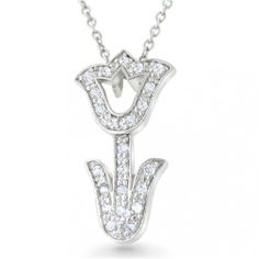 Bling Jewelry Pave CZ 925 Sterling Silver Tulip Pendant Necklace 16in Bling Jewelry. $29.99. Pave Cubic Zirconia. Tulip flower pendant. Comes with a 16in chain. Weighs 2 grams. .925 Sterling Silver. Save 52%!