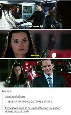 ''Coulson looks like he's about to start collecting vintage Lady Sif cards.'' HAHAHAHAHAHA!!!