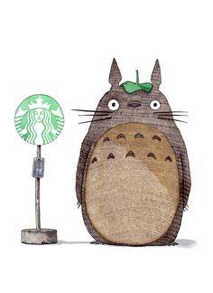 Totoro & Starbucks by LOETZ