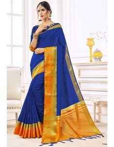 Royal Blue Art Silk Saree