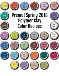 Fresh colors for Spring 2018. Premo brand Polymer Clay Color Recipe Ebook.