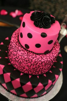 Pink and black wedding cake ... turned out AWESOME!!