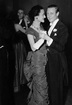 The Duke and Duchess of Windsor dance at the December Ball in the Hotel Plaza, a benefit for disabled veterans' musical instruction.December 11, 1946.