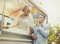 Fun and sweet bride and groom in vintage ice cream van - Tara & Jack Wedding - More in the blog! by Ana Gely A. Photography