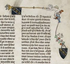 Detail of a marginal painting of a man playing a rabbit-trumpet (despite distractions), from La Queste del Saint Graal, France, c. 1315 - c. 1325, Royal MS 14 E III, f. 89r - See more at: http://britishlibrary.typepad.co.uk/digitisedmanuscripts/2015/07/happy-uncommon-musical-instrument-appreciation-day.html#sthash.FnKoayeE.dpuf