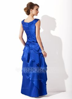 A-Line/Princess V-neck Floor-Length Cascading Ruffles Zipper Up Cap Straps Sleeveless No Royal Blue Spring Fall Winter General Plus Charmeuse Mother of the Bride Dress