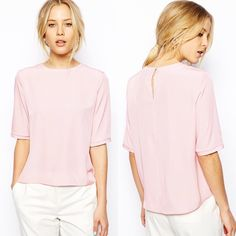 ASOS Lightweight T-Shirt with Keyhole Back Silky pale pink top from ASOS. Key-hole with button closure in back. 3/4 sleeve length with round neckline. Gently worn, like new. ASOS Tops Blouses