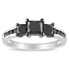 Miadora 10k White Gold 1 1/2ct TDW Princess Black Diamond 3-stone Ring