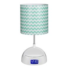 So preppy! All The Rages Inc LighTunes Bluetooth Speaker Lamp with Alarm Clock, FM Radio, USB Charging Port, and Aqua Chevron Shade
