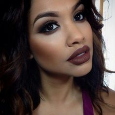 Brown Lipstick: It�s Back, and We Have the Proof | Beauty High. Perfectly contoured cheeks are a great accent for a brown lip color. Very trendy for fall 2014.