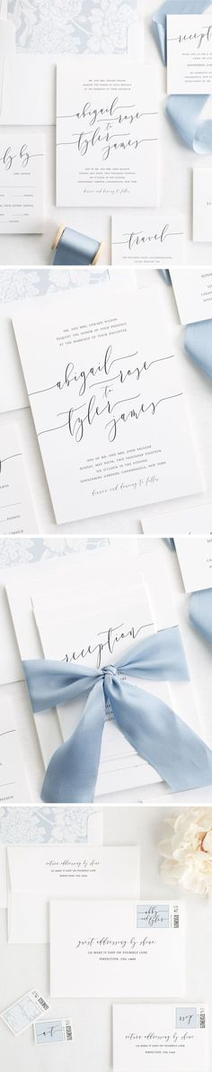 Romantic Modern Calligraphy Wedding Invitations with a dusty blue floral envelope liner and custom dyed 100% silk ribbon in french blue. Customize this classic stationery suite with our easy addressing services, custom stamps, and the wording of your choice of wording!