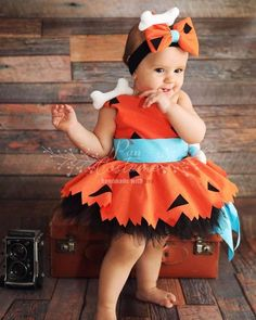 Baby girl halloween costumes - Pebbles Flintstone Outfit for Kids – Baby girl halloween costumes Baby Girl Halloween Costumes, Toddler Costumes, Halloween Outfits, Halloween Birthday, Pebbles Costume Toddler, Birthday Parties, Kid Costumes, Costume Ideas, Family Costumes
