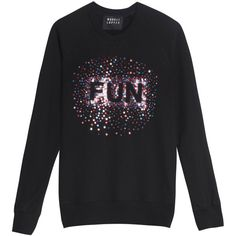 MARKUS LUPFER Scattered Sequin Jumper (495 CAD) ❤ liked on Polyvore featuring tops, sweaters, sequin sweater, long sleeve sweaters, black long sleeve jumper, black sequin sweater and long sleeve tops