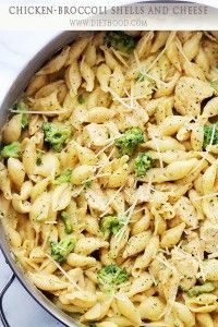 Chicken-Broccoli Shells and Cheese Recipe | Diethood  Use whole wheat pasta to lower the carb count, and low fat cheese, and less olive oil to reduce the amount of fat...