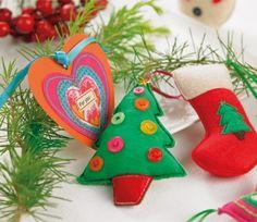 Stitched Felt Christmas Tree Decs