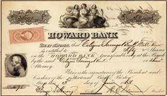Howard Bank 50 shares à 100 $ 5.6.1863.