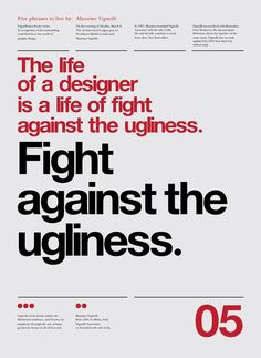 Typographic Poster Design by Anthony Neil Dart with quotes  by Massimo Vignelli