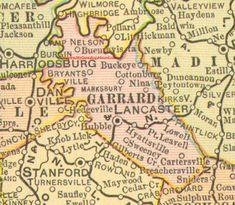 Garrard County, Kentucky 1905 Map Lancaster, KY, Paint Lick, Bryantsville, Buckeye, Buena Vista, Cartersville, Hyattsville, Lowell, Marksbury, Nina, Point Leavell, Sweeney