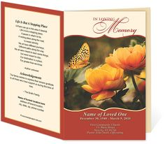 Funeral Programs or Order of Service Contemporary Designs : Sienna Preprinted Title Letter Single Fold Program Templates