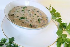 Fast mushroom sauce from rudiminator Mushroom Sauce, Cheeseburger Chowder, Vegetarian Recipes, Clean Eating, Stuffed Mushrooms, Food And Drink, Soup, Pasta, Vegan
