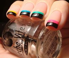 Neon Black Tip Funky French #nails, #fashion, https://facebook.com/apps/application.php?id=106186096099420