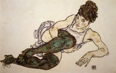 Egon Schiele was a major figurative painter of the early century, highly influenced by the expressionist painting style of Gustav Klimt. His work is noted for its intensity and its raw sexuality, and the many self-portraits the artist produced includ Gustav Klimt, Life Drawing, Figure Drawing, Painting & Drawing, Painting Canvas, Canvas Art, Green Stockings, Black Crayon, Modern Portraits