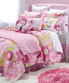 This Pink Floral Butterfly Cotton Quilt is perfect! #zulilyfinds