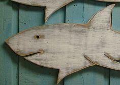 Shark Large Weathered Big White Shark Sign by CastawaysHall, $59.00