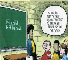 This cartoon illustrates how many hoops bilingual students have to jump through in order to meet the expectations of public schools. Each child is rigorously tested many times without the adequate resources needed to succeed. Translators are often not funded or available for bilingual learners which puts them at an extreme disadvantage to their monolingual peers. NCLB is designed with the idea that all students need the same resources and materials which is not the case.