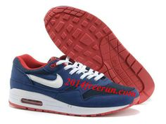 factory authentic 3d97e 0ce1a Mens Nike Air Max 1 OG Deep Blue Red White Shoes  Blue  Womens