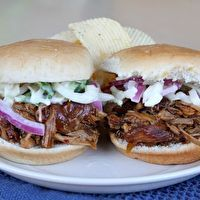 Slow Cooker Pulled Pork Sliders with Bourbon- Peach Barbecue Sauce by Recipe Girl