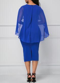 Royal Blue Back Slit Cape Shoulder Sheath Dress Chiffon Dress, I Dress, Sheath Dress, African Wear, African Dress, Elegant Dresses, Casual Dresses, Beautiful Dresses, African Fashion Dresses