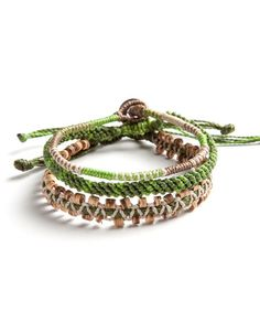 Take a look at this Green, Brown & Beige Outdoor Adventure Bracelet Set by Wakami on #zulily today!