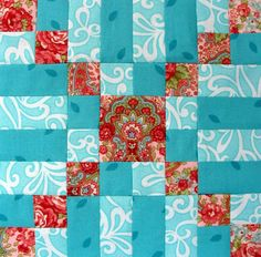 Starwood Quilter: Kiss Quilt Block, love the colors, nice way to use bright flower material