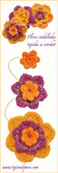 Cómo tejer flores onduladas a colores en crochet